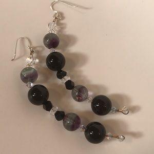 💕Sexy Rainbow Fluorite & Onyx Earrings